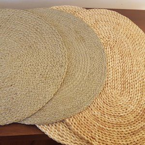 4 woven tablemats - 2 Rattan, 2 braided